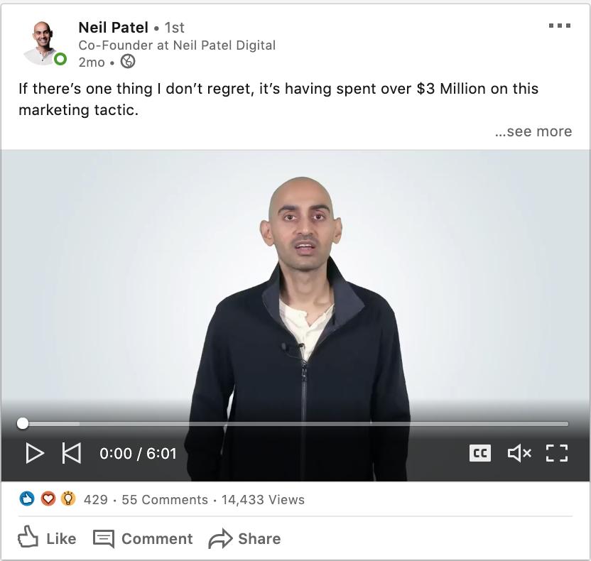 Neil Patel LinkedIn post
