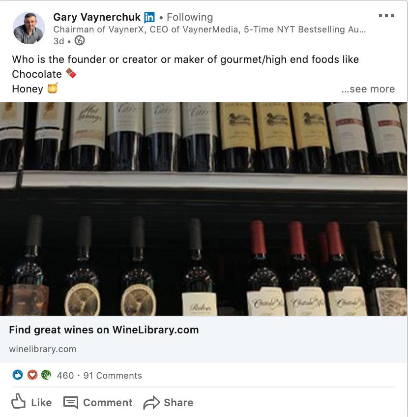 Example of LinkedIn company update